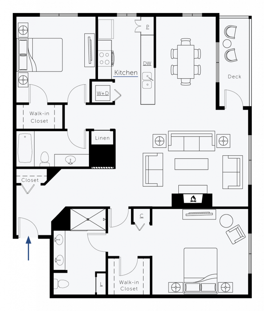 Two Bedroom Two Bath Deluxe Floorplan