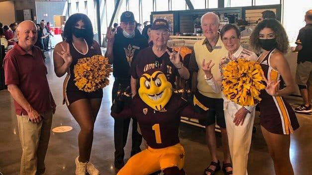 Residents and ASU Cheerleaders at Media Days Sun Devil Football Kickoff