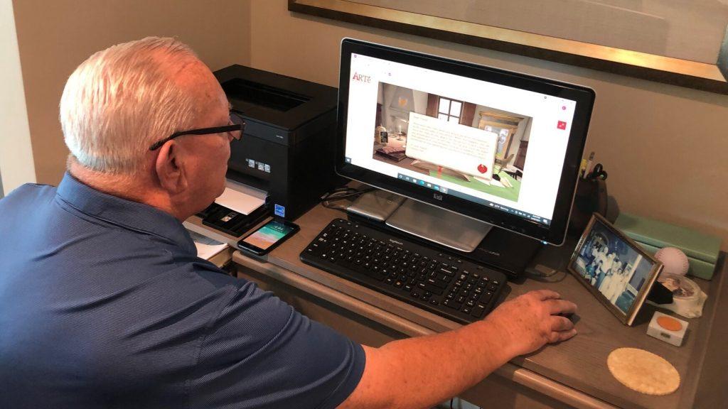 Resident Eric taking an Art History Class online