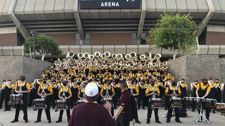 The ASU Marching Band welcoming fans