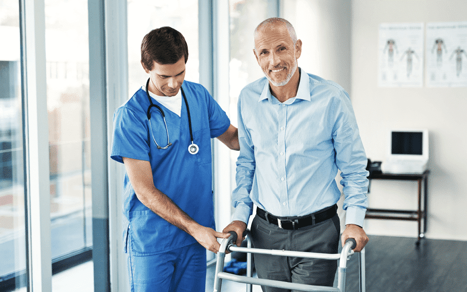 Healthcare worker and patient